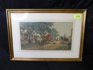 Early Print of Stagecoach and Street Scene