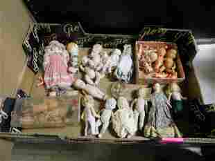 Large Lot of Miniature Porcelain and Celluloid Dolls