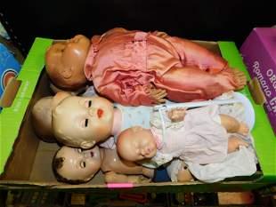 Lot of Vintage Soft Plastic Dolls and Composition Dolls