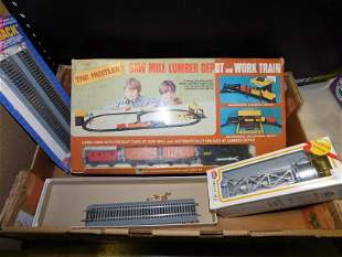 Box Lot with Toy Train, E Track and Accessories