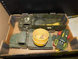 Box Lot with Vintage Army Trucks