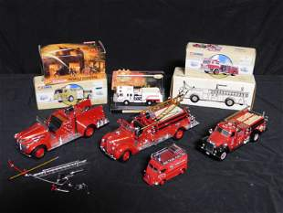 Box Lot with Model Fire Trucks