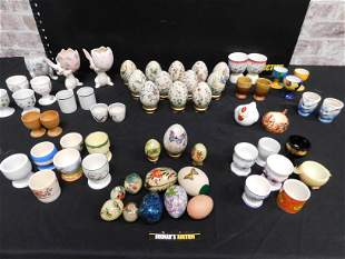 Box Lot of Egg Cups and Porcelain Eggs