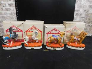 Lot of 4 Carousel Animal Series Decanters