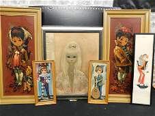 Lot of 6 Pieces of Framed Art - Margaret Keen Style