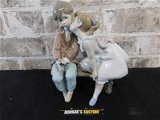Lladro Little Boy and Girl on Bench