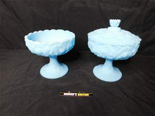 Lot of 2 Fenton Blue Satin Glass Compotes