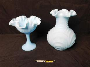 Lot of 2 Fenton Blue Satin Glass Pieces