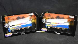Lot of 2 Hot Wheels 1:18 Scale Customized VW Drag Buses