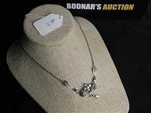 Deco Sterling Crystal Necklace