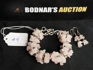 Rose Quartz Bracelet & Earrings