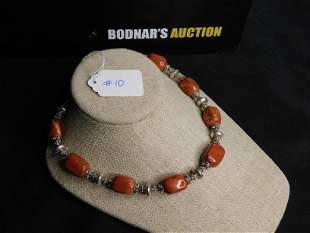 Sterling Silver Orange Stone Beaded Necklace