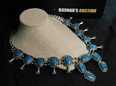 Goldette Silver Tone Squash Blossom Necklace