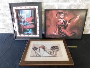 Lot of 3 Framed Prints including Harley Quinn