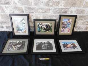 Lot of 6 Godzilla and King Kong Framed Prints