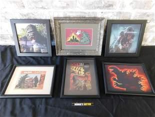 Lot of 6 Framed Godzilla and King Kong Framed Prints