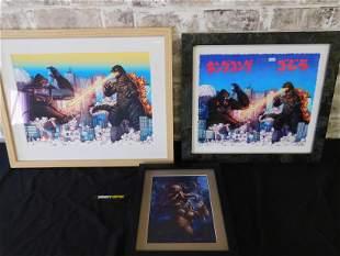 Lot of 3 Godzilla and King Kong Framed Prints