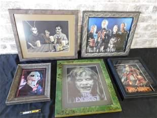 Lot of 5 Horror Themed Movie Framed Prints