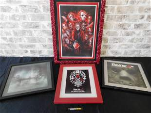 Lot of 4 Friday the 13th Framed Prints
