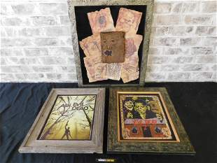 Lot of 3 Evil Dead Framed Prints including Mixed Media