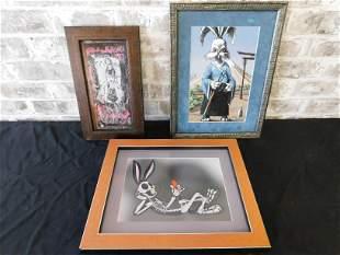 Lot of 3 Framed Prints including Skeleton Bugs