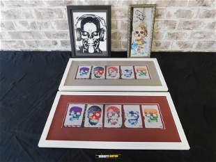 Lot of 4 Skull Themed Framed Prints