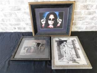 Lot of 3 Framed Horror Related Framed Print including