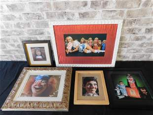 Lot of 5 Mixed Framed Prints including Dolls, Puppets
