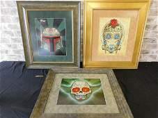 Lot of 3 Star Wars Sugar Skull Framed Prints