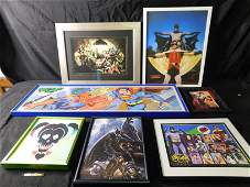 Lot of 7  DC Comics Framed Prints including Batman