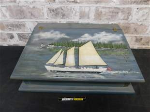 Hand painted Slant Front Writing Desk with Schooner -