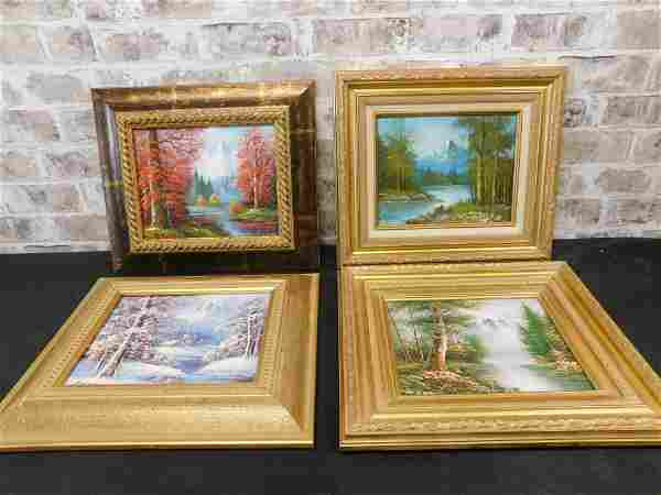 Lot of 4 Oil on Board Paintings