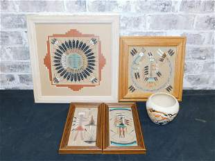 Lot of 5 Pieces of Navajo Art and Pottery