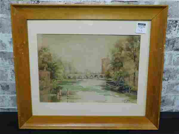 Framed Watercolor of Old Fort Bragg Artist Signed