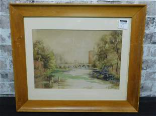 Framed Watercolor of Old Fort Bragg Artist Signed
