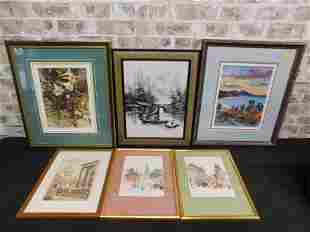 Lot of 6 Pieces of Framed Art