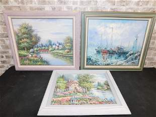 Lot of 3 Framed Oil on Canvas