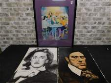Lot of 3 Pieces of Art including Oil on Canvas of Al