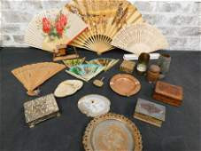 Grouping of Items including Fans, Ashtrays, Small Boxes