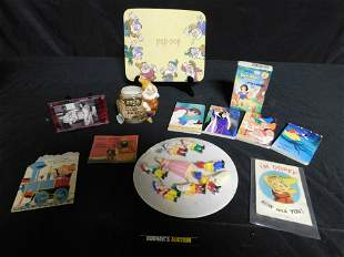 Lot of Snow White Items including Vintage Cake Toppers