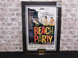 Autographed Beach Party Framed and Matted Poster