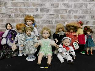 Group Lot of Contemporary Porcelain Dolls
