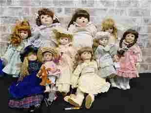 Large Lot of 10 Contemporary Porcelain Dolls
