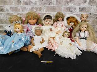 Mixed Lot of 10 Vinyl and Porcelain Contemporary Dolls