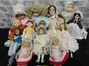 Mix Lot of 14 Porcelain, Vinyl, and Cloth Dolls