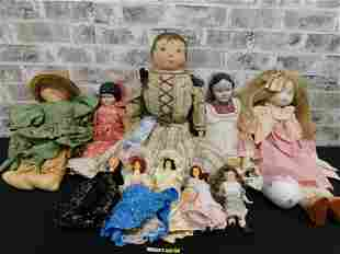 Mixed Lot of 10 Dolls including Cloth and Porcelain