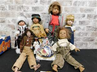 Mixed Lot of 8 Porcelain and Vinyl Dolls including