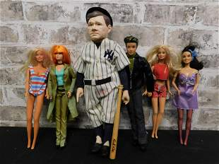 Lot of 90's Mattel Dolls and Babe Ruth