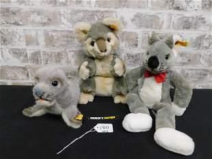 Lot of 3 Steiff Plush including Seal, Mouse and Koala