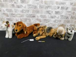 Lot of 5 Steiff Dog Plush